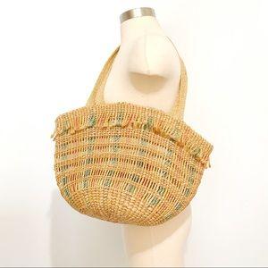 VINTAGE Multicolor Woven Straw Bucket Tote Bag